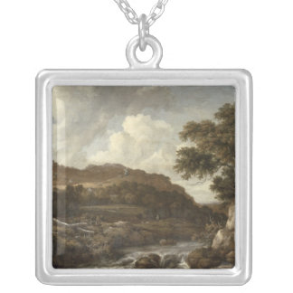 Mountainous Wooded Landscape with a Torrent Silver Plated Necklace