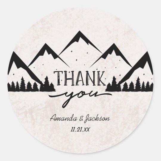 Mountains Adventure Begins Monogram Wedding Classic Round Sticker