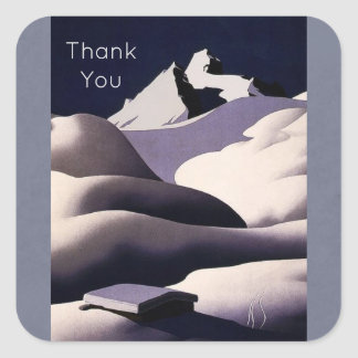 Mountains And Hills of Snow in Winter Thank You Square Sticker