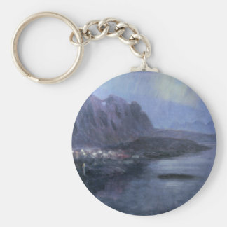 Mountains and Lake Fra Svolvaer Basic Round Button Key Ring
