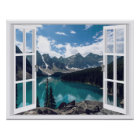 Mountains and Lake Landscape Fake Window View Poster