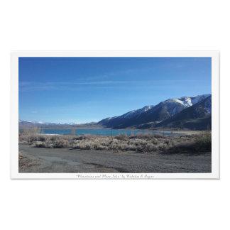 """Mountains and Mono Lake,"" Nature Photographic Print"
