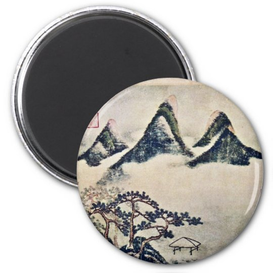 Mountains And Pine Trees In The Spring By Mi Fei 6 Cm Round Magnet