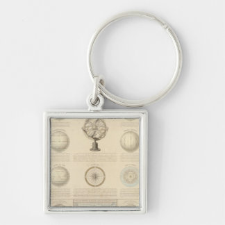Mountains and River of the World Silver-Colored Square Key Ring