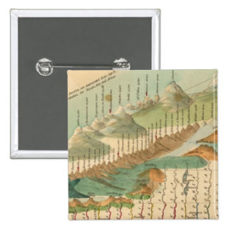 Mountains and Rivers Map 15 Cm Square Badge