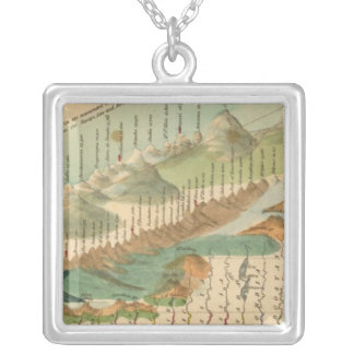 Mountains and Rivers Map Silver Plated Necklace