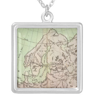 Mountains and Rivers of Europe Silver Plated Necklace