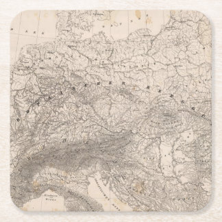 Mountains and Rivers of Europe Square Paper Coaster