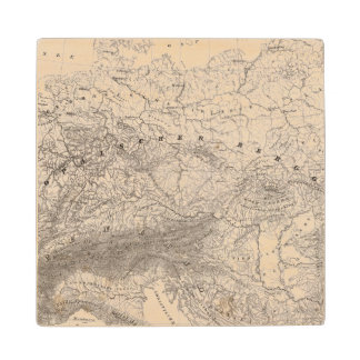 Mountains and Rivers of Europe Wood Coaster