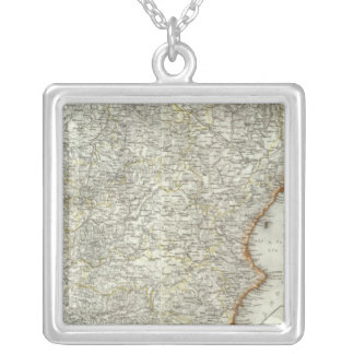 Mountains and Rivers of Madrid, Spain Silver Plated Necklace