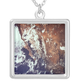 Mountains and Seas Seen from Space Silver Plated Necklace