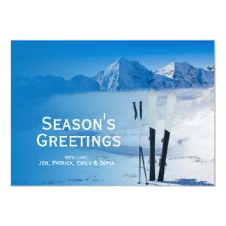Mountains and ski equipment 13 cm x 18 cm invitation card