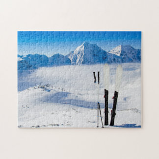 Mountains and ski equipment jigsaw puzzle