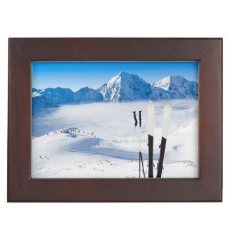 Mountains and ski equipment keepsake box
