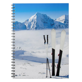 Mountains and ski equipment notebooks