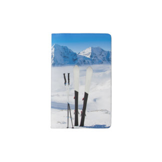 Mountains and ski equipment pocket moleskine notebook