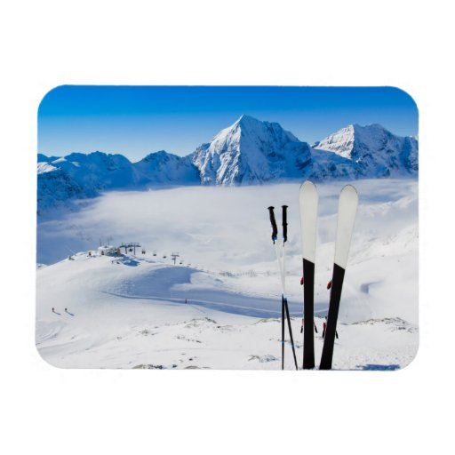 Mountains and ski equipment rectangular magnet