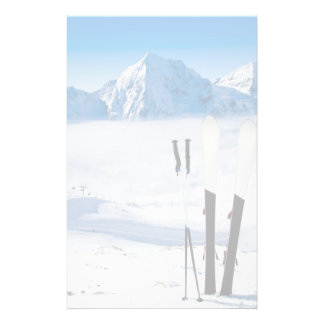 Mountains and ski equipment stationery