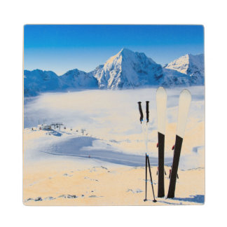 Mountains and ski equipment wood coaster