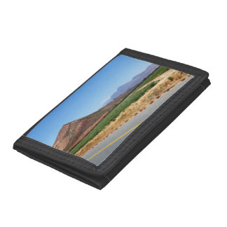 Mountains and Vineyards by a road in South Africa Trifold Wallets