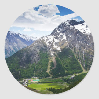 Mountains Around Saas Fee Classic Round Sticker