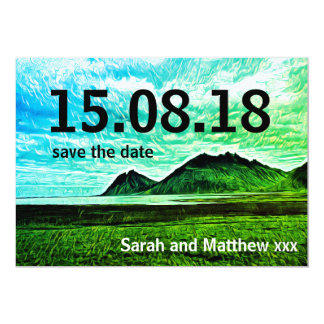 mountains art save the date card