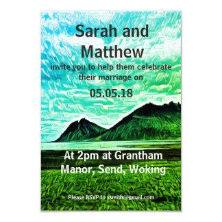 mountains art wedding invitation