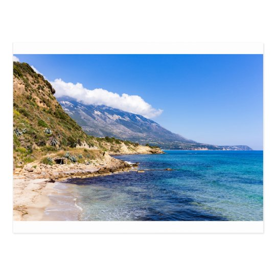 Mountains at coast with sea in Kefalonia Greece