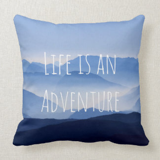 Mountains Blue Mist Throw Pillow