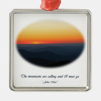 Mountains Calling/Smokies Sunset Oval Silver-Colored Square Decoration