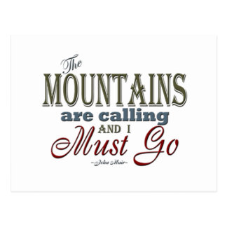 Mountains Calling Typography Quote - John Muir Postcard