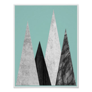 Mountains, geometric, scandinavian poster print