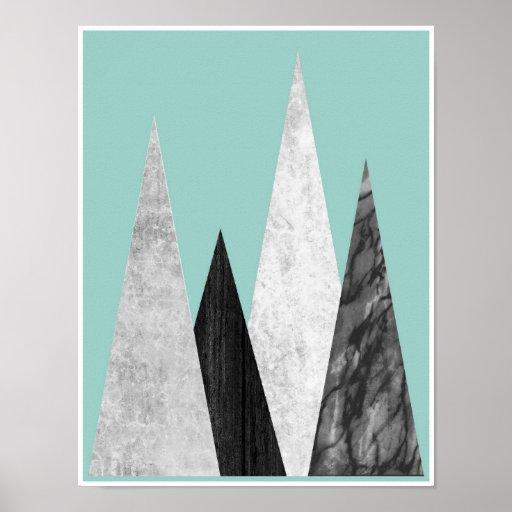 Mountains, geometric, scandinavian poster print