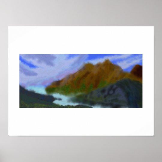 Mountains Green Art Poster
