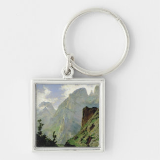 Mountains in Europe, 1876 Silver-Colored Square Key Ring