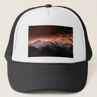 Mountains in sunset trucker hat