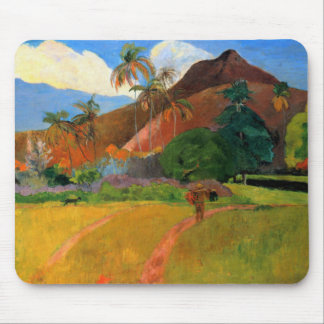 Mountains in Tahiti Gauguin painting warm colorful Mouse Pad