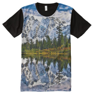 Mountains - Lake - Snow - Nature All-Over Print T-Shirt