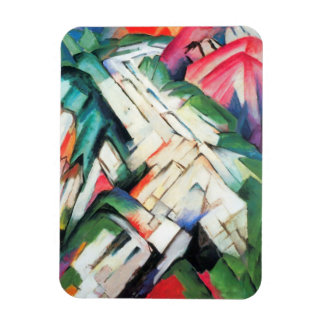 Mountains Landscape by Franz Marc, Vintage Cubism Rectangular Photo Magnet