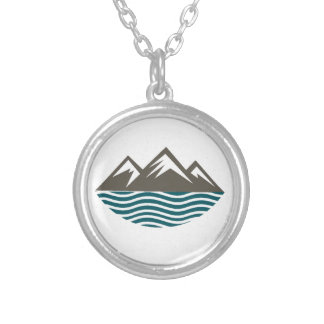 Mountains & Ocean Silver Plated Necklace