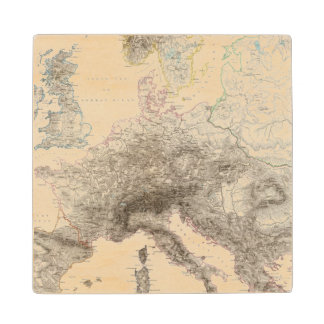 Mountains of Europe Wood Coaster