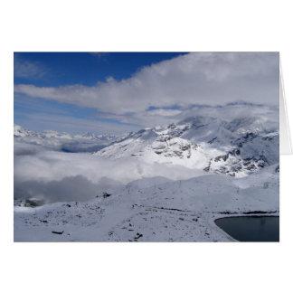 Mountains on the way to Gornergrat in Switzerland Card