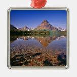 Mountains reflect into calm Two Medicine Lake in Silver-Colored Square Decoration