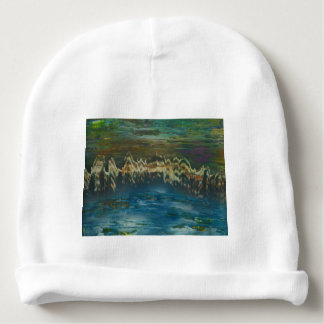Mountains reflected in winter lake baby beanie