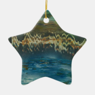 Mountains reflected in winter lake christmas ornament