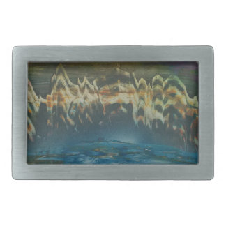 Mountains reflected in winter lake rectangular belt buckles