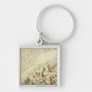 Mountains & Rivers Silver-Colored Square Key Ring