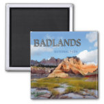 Mountains & Sky in the Badlands National Park Square Magnet