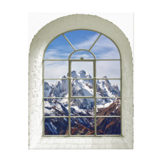 Mountains View Artificial Window Canvas Print