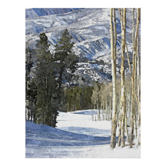 Mountains Winter Landscape Watercolor Painting Poster